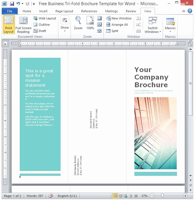 Tri Fold Template for Word Elegant Free Business Tri Fold Brochure Template for Word