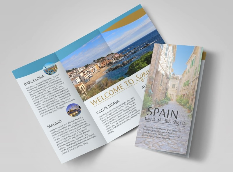 Tri Fold Travel Brochure Examples Awesome Spain Travel Tri Fold Brochure Template