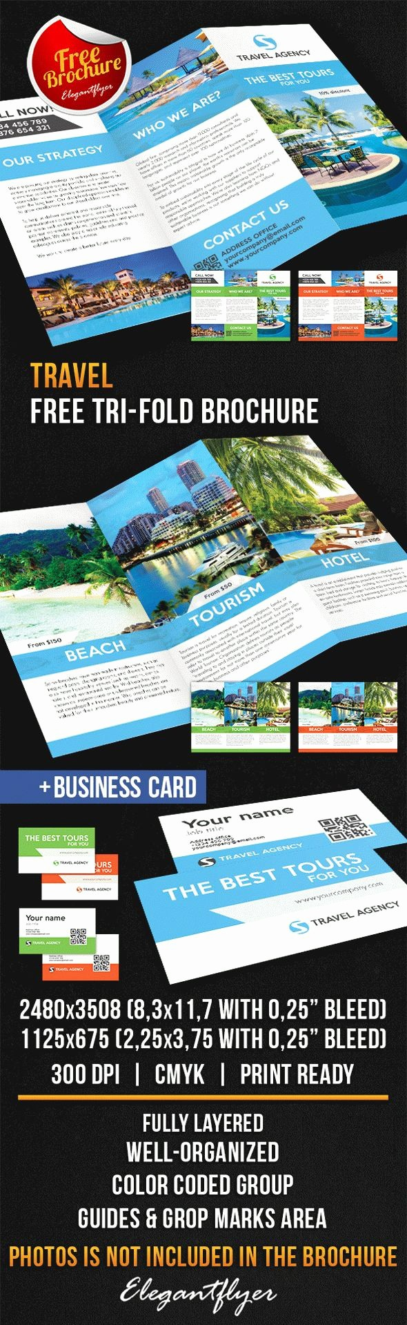 Tri Fold Travel Brochure Examples Beautiful Travel Tri Fold Brochure – Free Psd Template – by Elegantflyer