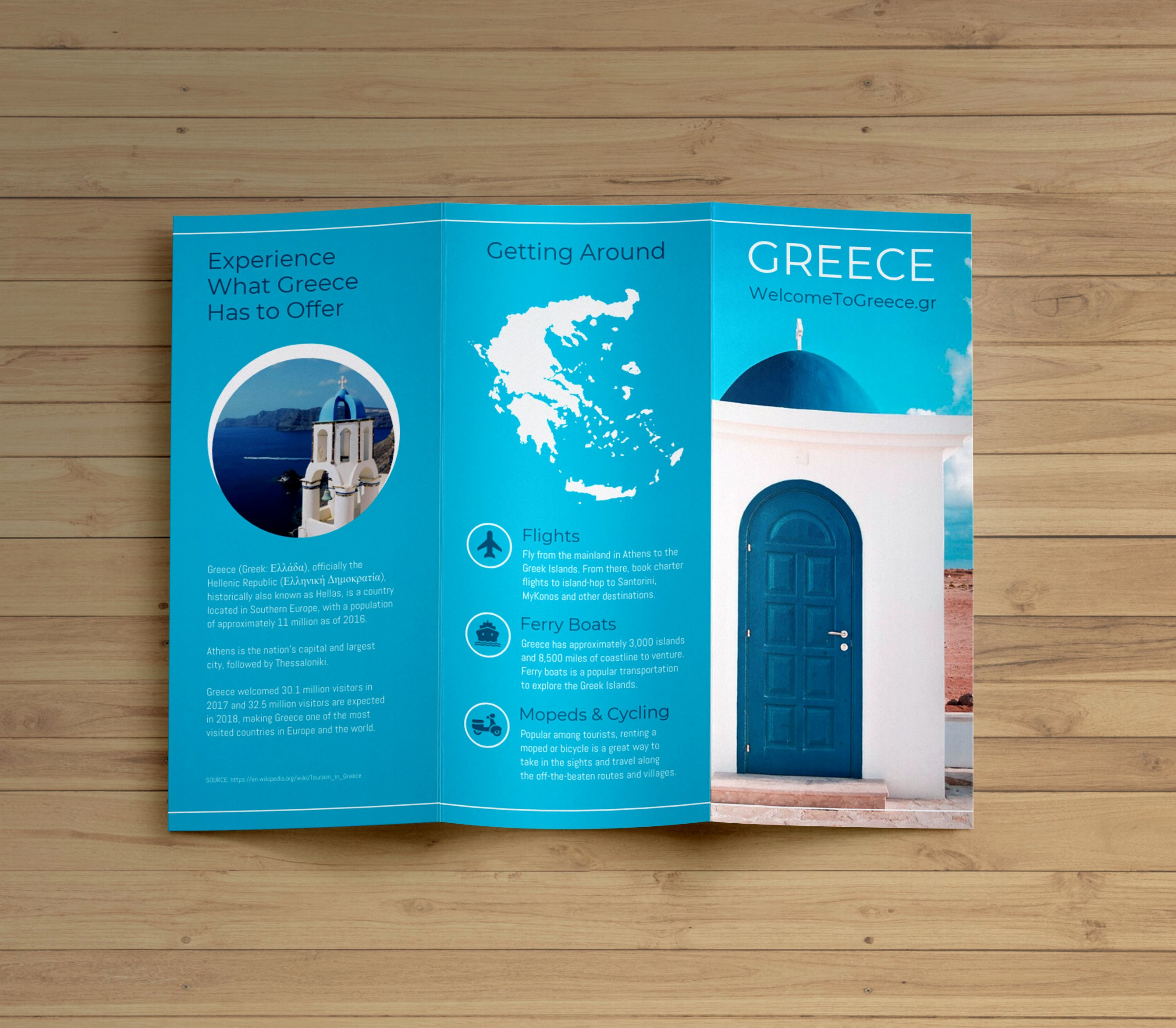Tri Fold Travel Brochure Examples Elegant Creative Blue Greece Travel Trifold Brochure Idea