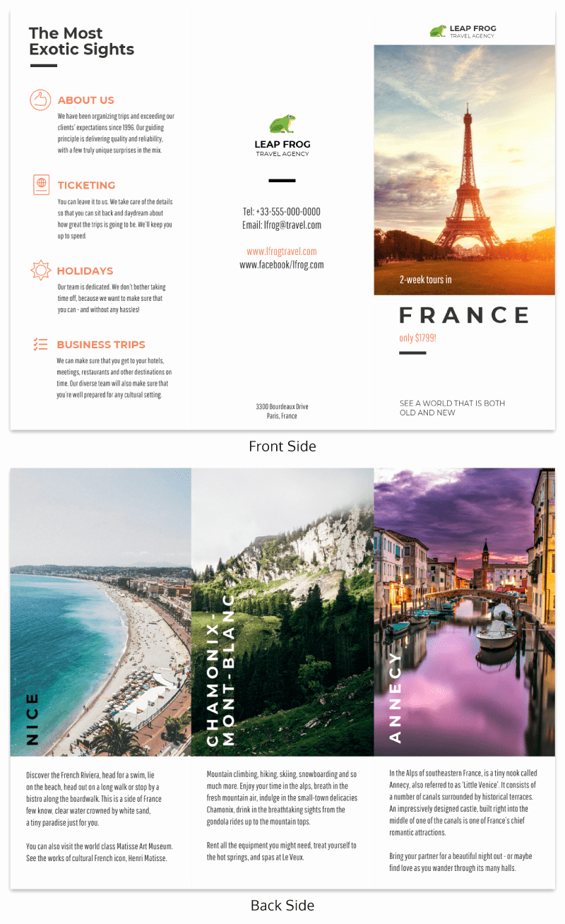 Tri Fold Travel Brochure Examples Elegant Destination Tri Fold Travel Brochure Template Venngage