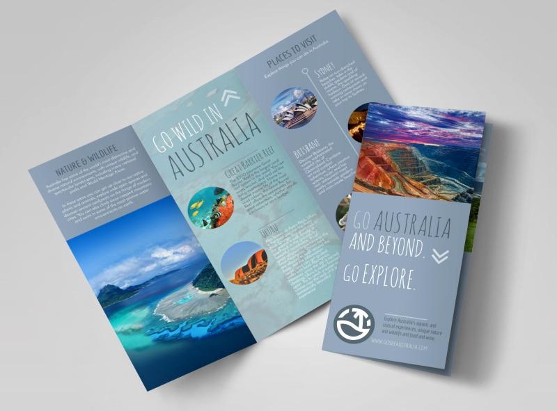 Tri Fold Travel Brochure Examples Elegant Travel Australia Tri Fold Brochure Template