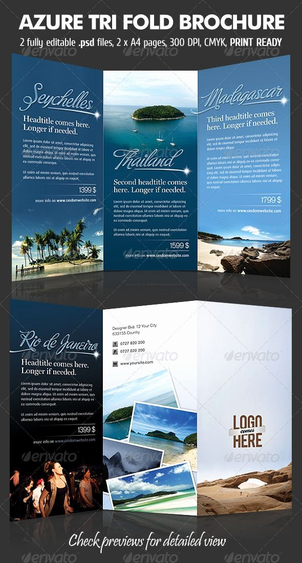 Tri Fold Travel Brochure Examples Inspirational Azure Trifold Brochure Corporate Brochures