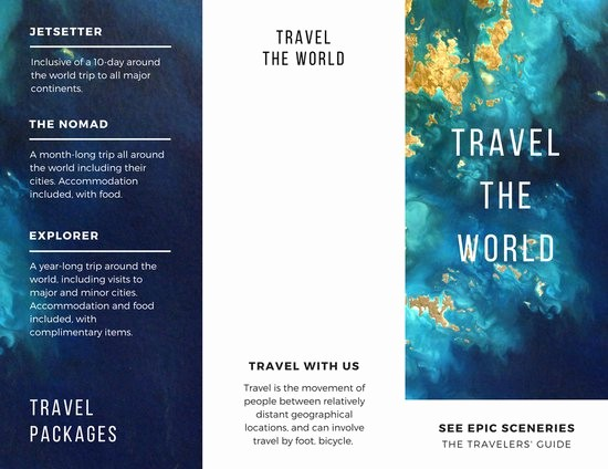 Tri Fold Travel Brochure Examples Luxury Ocean Travel Pamphlet Trifold Brochure Templates