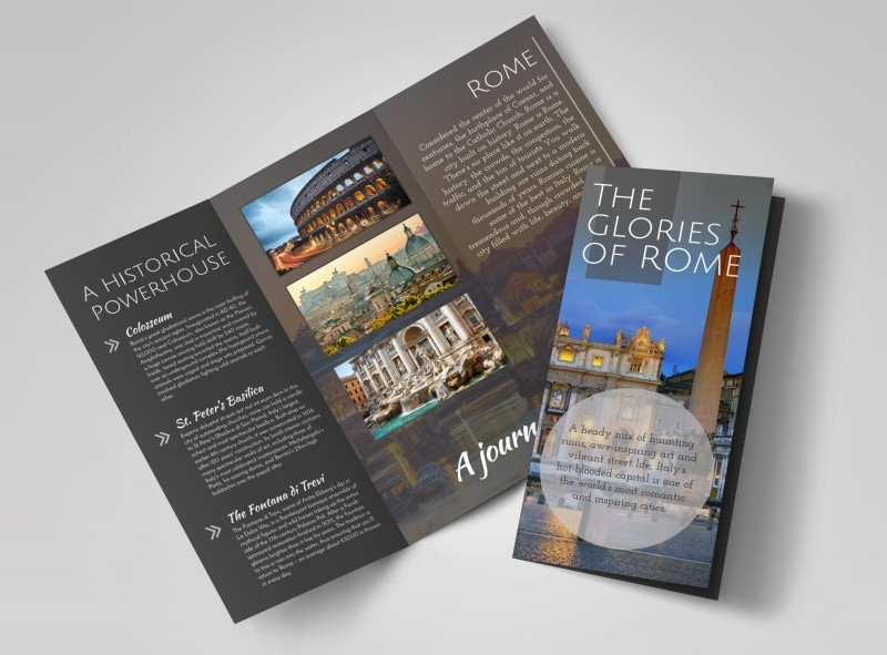 Tri Fold Travel Brochure Examples Luxury Travel Rome Tri Fold Brochure Template
