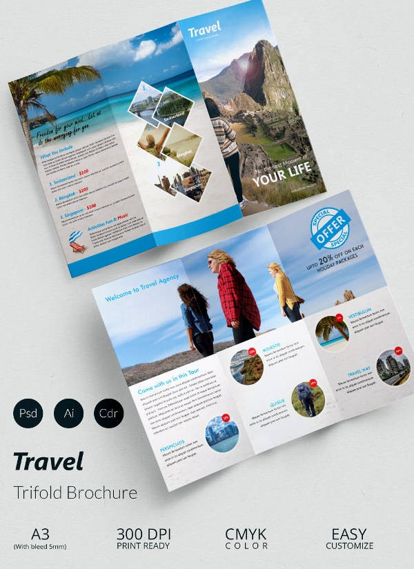 Tri Fold Travel Brochure Examples New 47 Travel Brochure Templates Free Sample Example