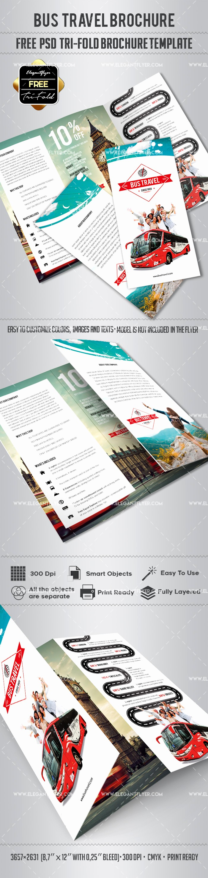 Tri Fold Travel Brochure Examples Unique Free – Bus Travel Tri Fold Psd Brochure Template – by