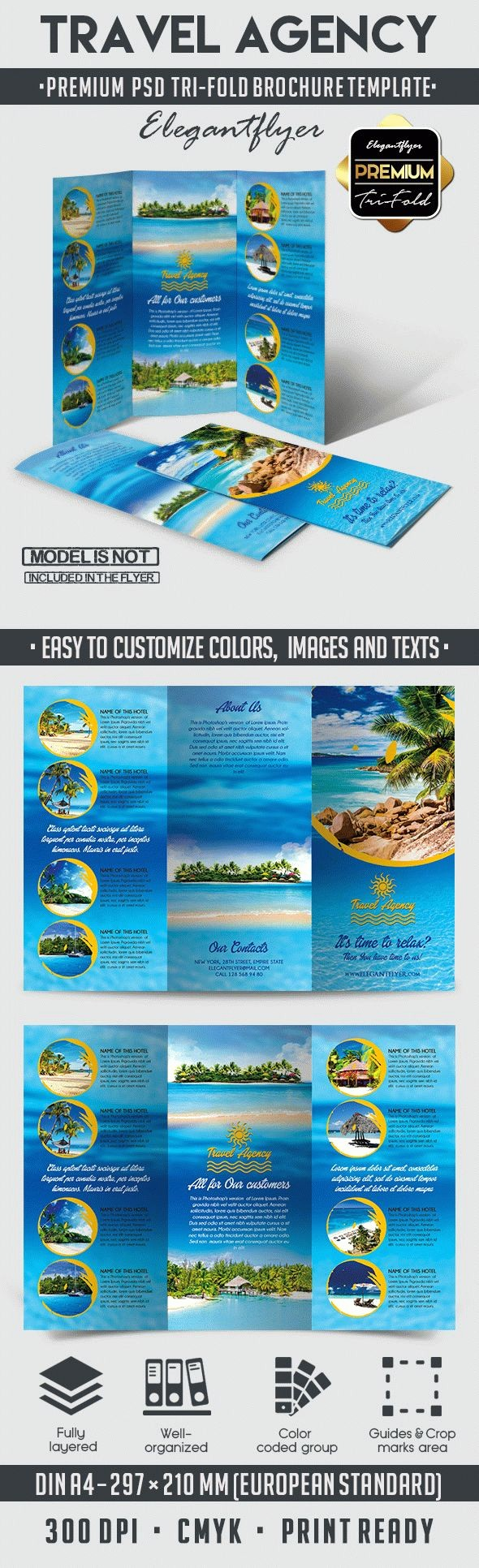 Tri Fold Travel Brochure Examples Unique Travel Agency – Tri Fold Brochure Psd Template – by