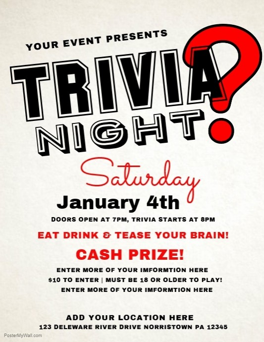 Trivia Night Flyer Template Free Awesome Trivia Template