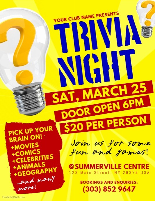 Trivia Night Flyer Template Free Beautiful Trivia Night Flyer Template