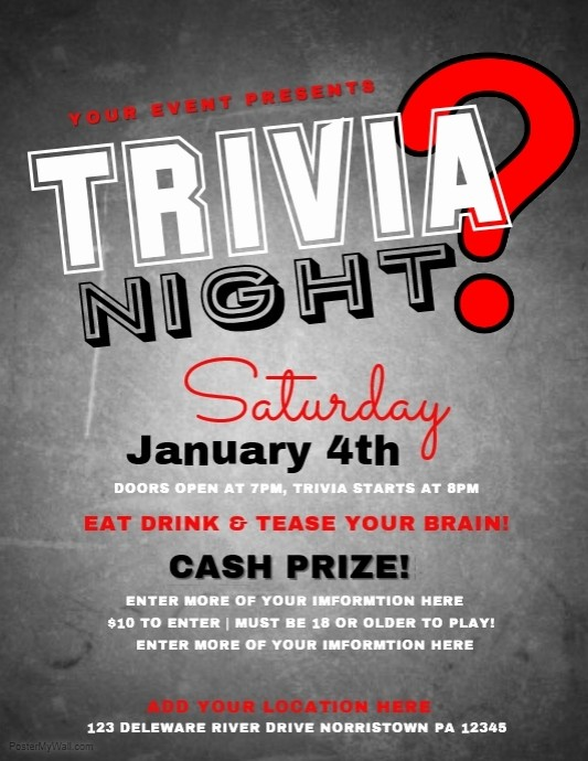 Trivia Night Flyer Template Free Beautiful Trivia Template