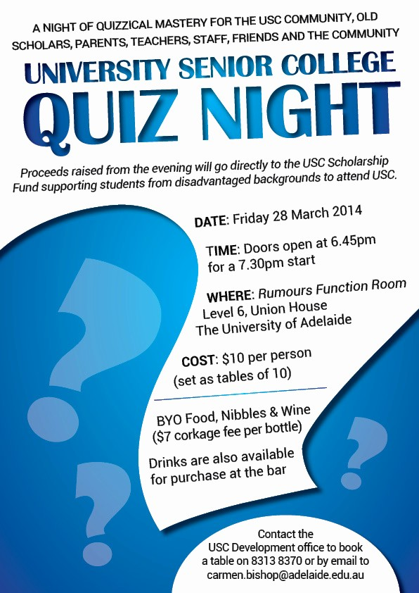 Trivia Night Flyer Template Free Best Of Usc Quiz Night – Friday 28th March Usc News