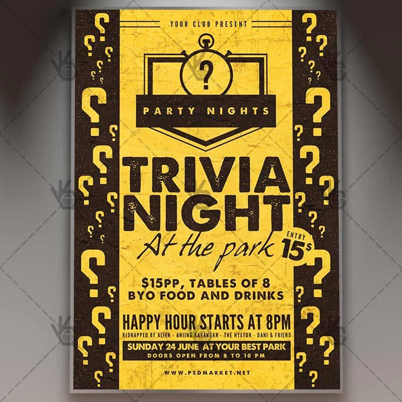 Trivia Night Flyer Template Free Elegant Trivia Night Premium Flyer Psd Template