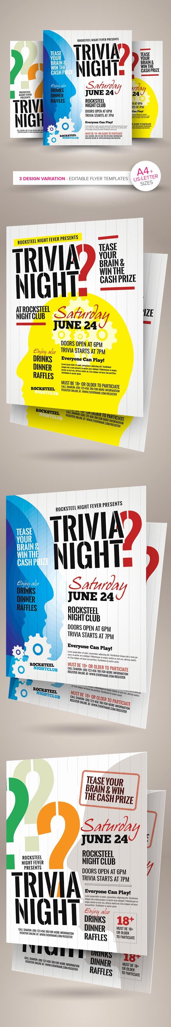 Trivia Night Flyer Template Free Fresh Trivia Night Flyer Templates On Behance