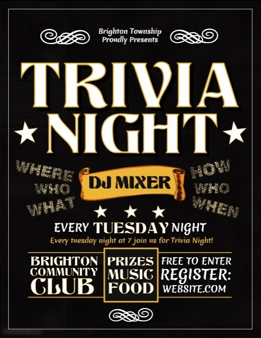 Trivia Night Flyer Template Free Fresh Trivia Night Template
