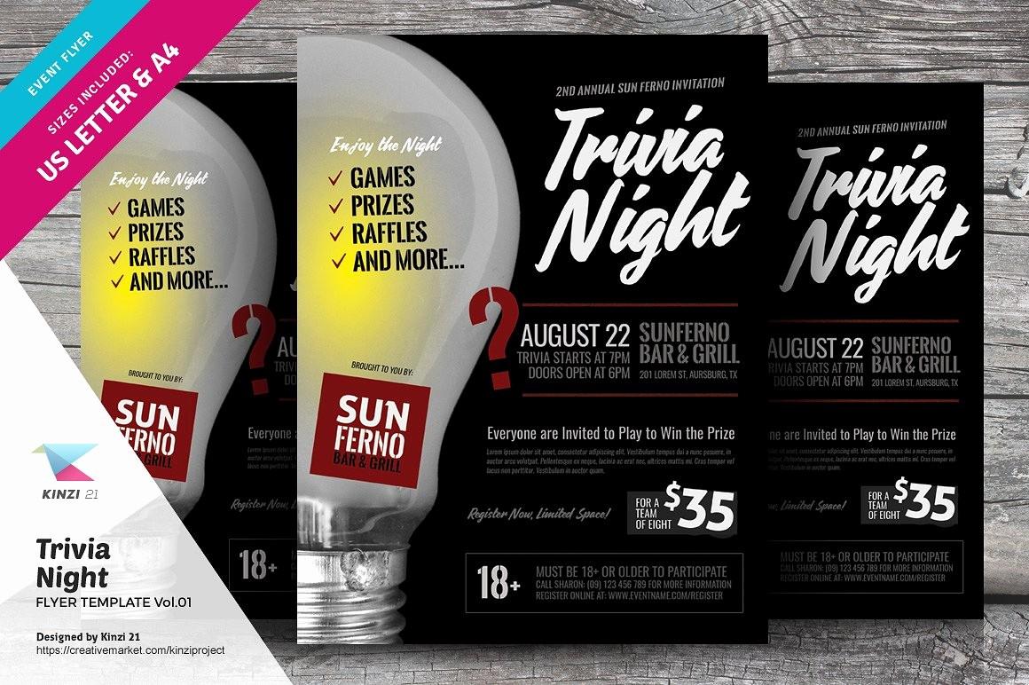Trivia Night Flyer Template Free Inspirational Trivia Night Flyer Template Vol 01 Flyer Templates