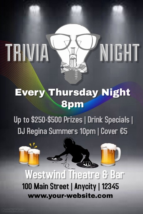 Trivia Night Flyer Template Free Inspirational Trivia Night