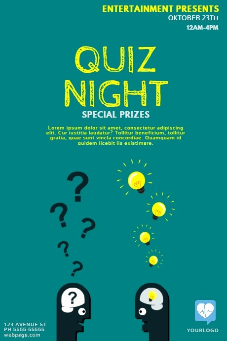 Trivia Night Flyer Template Free Lovely Quiz Night Flyer Template