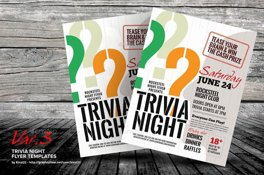 Trivia Night Flyer Template Free Luxury Trivia Night Flyer Templates by Kinzi21