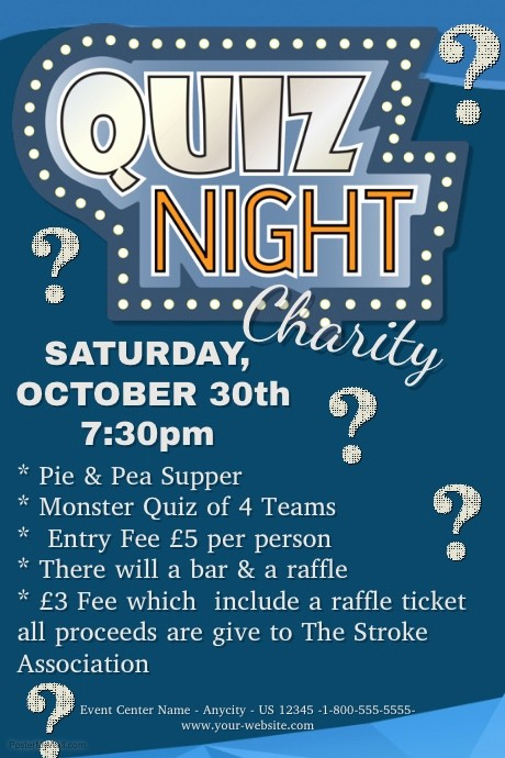 Trivia Night Flyer Template Free New Quiz Night Charity Template