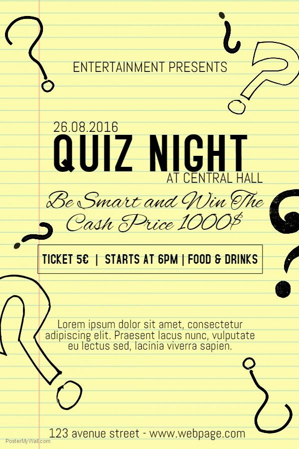 Trivia Night Flyer Template Free New Quiz Night Poster Template