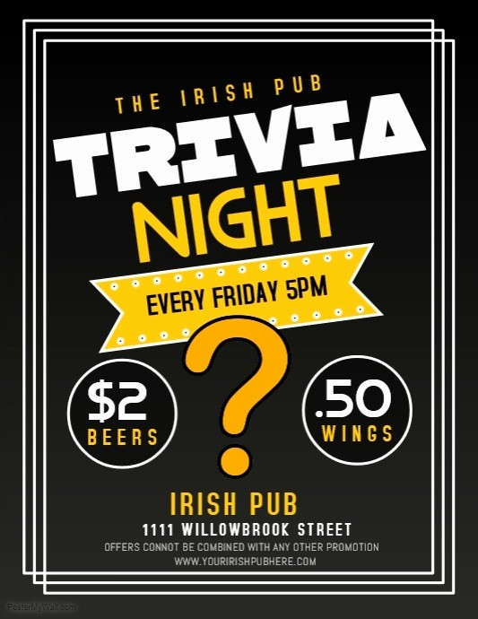 Trivia Night Flyer Template Free New Trivia Template