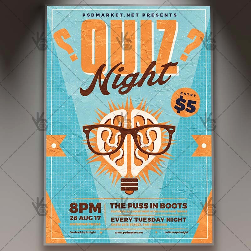 Trivia Night Flyer Template Free Unique Quiz Night Premium Flyer Psd Template
