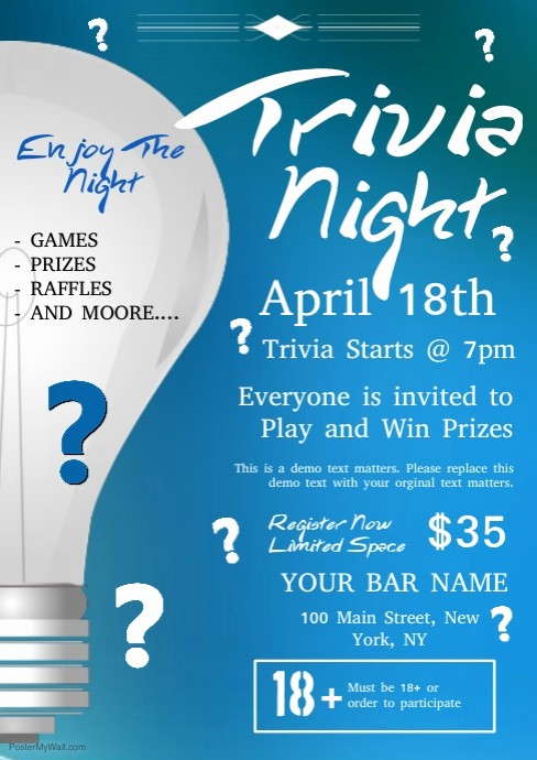 Trivia Night Flyer Template Free Unique Trivia Night Template