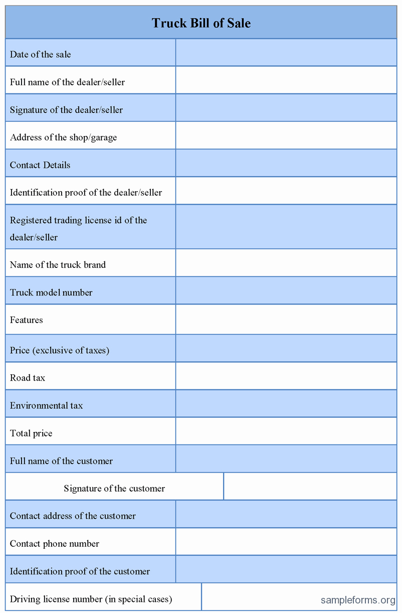 Truck Bill Of Sale form Fresh Truck Bill Of Sale form Sample forms