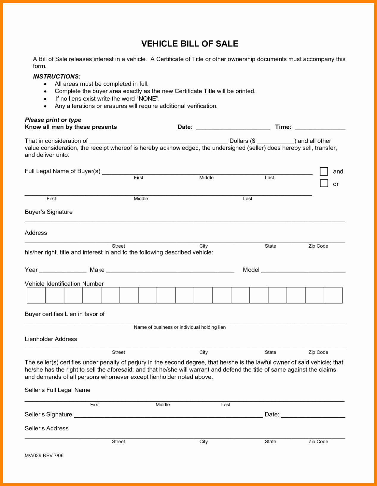 Truck Bill Of Sale form Inspirational Motor Vehicle Bill Of Sale Template form Printable