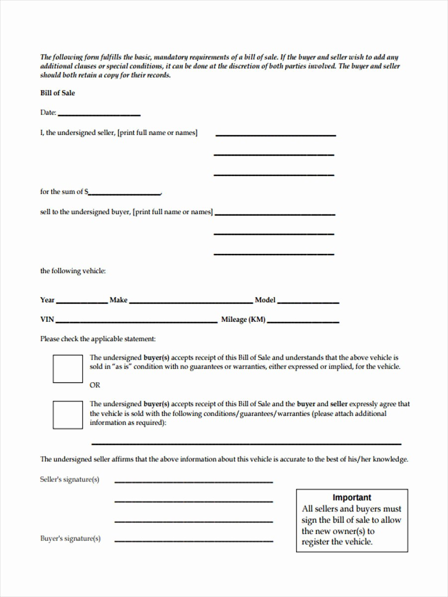 Truck Bill Of Sale Pdf Inspirational Truck Bill Of Sale forms 6 Free Documents Word Pdf