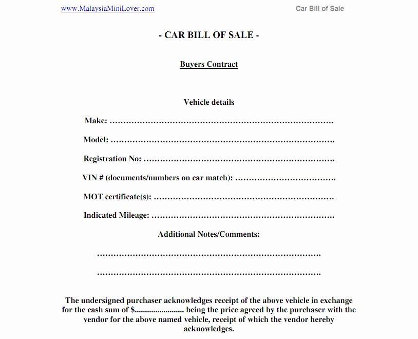 Truck Bill Of Sale Pdf Lovely Automobile Bill Of Sale