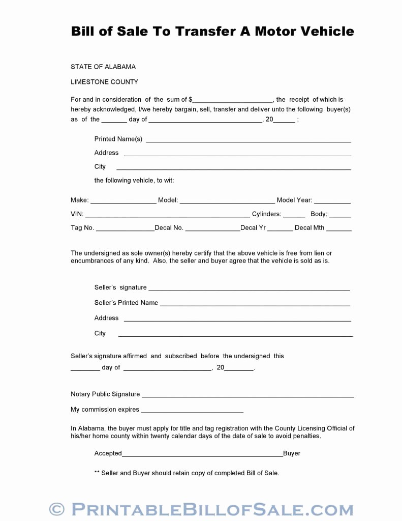 Truck Bill Of Sale Pdf Lovely Free Limestone County Alabama Vehicle Bill Of Sale form