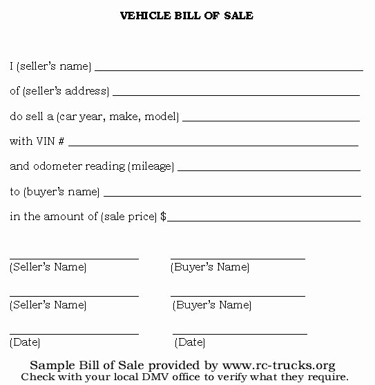 Truck Bill Of Sale Template Lovely Printable Sample Vehicle Bill Of Sale Template form