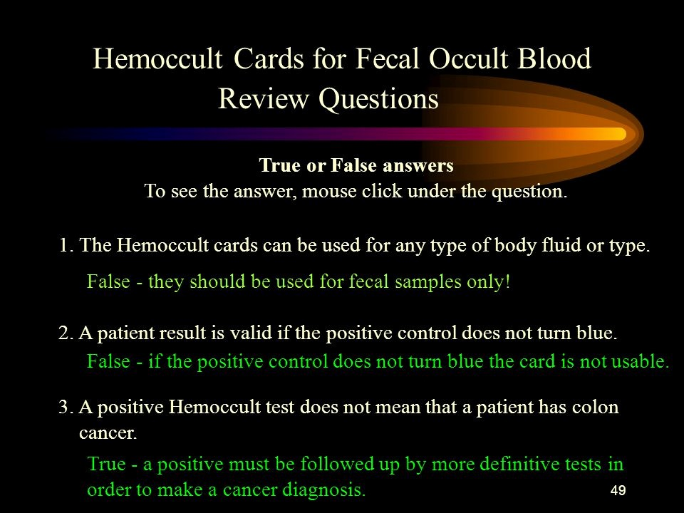 True or False Quiz Maker Awesome Hemoccult Cards for Fecal Occult Blood Training