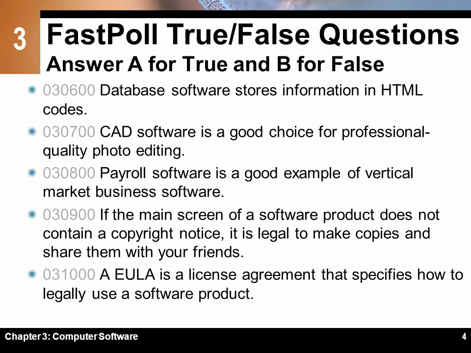 True or False Quiz Maker Best Of Chapter 3 Puter software Ppt