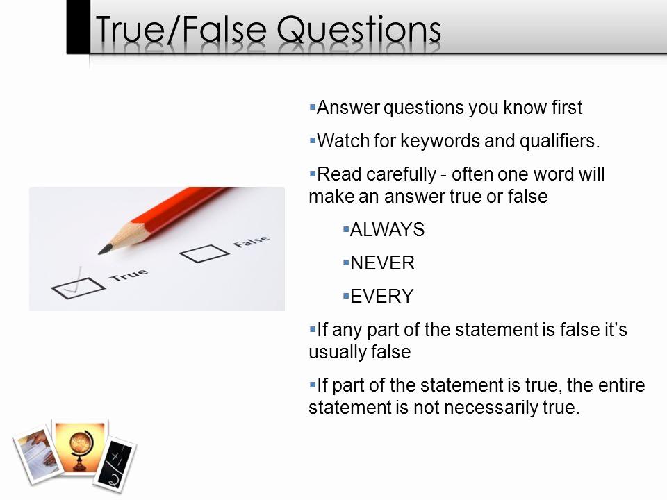 True or False Quiz Maker Best Of Day 3 – Test Taking Strategies Ppt Video Online