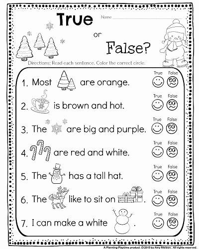 True or False Quiz Maker Lovely Kindergarten Math and Literacy Worksheets for December