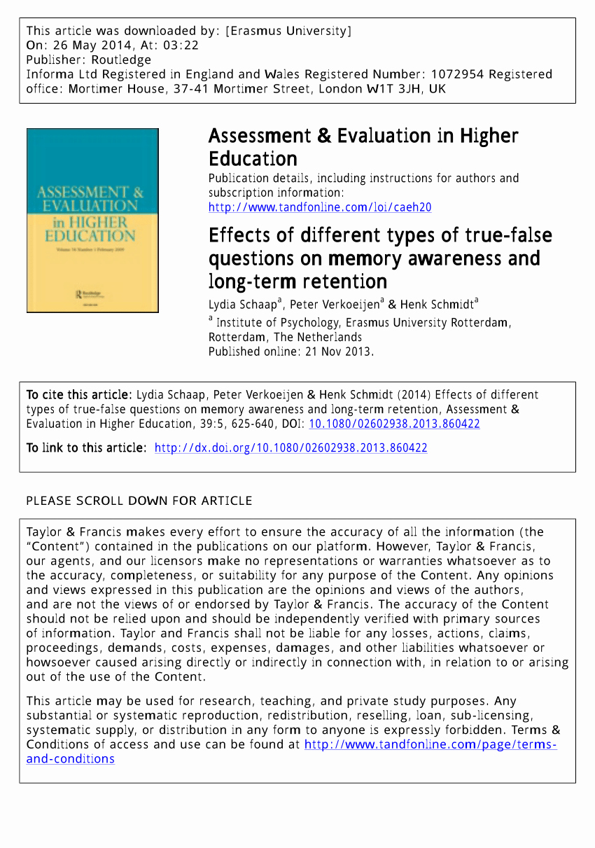 True or False Quiz Maker New Pdf Effects Of Different Types Of True–false Questions