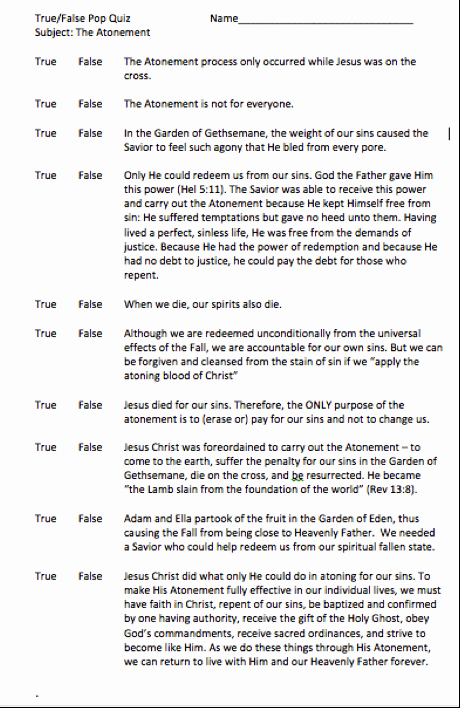 True or False Test Template Beautiful Staying Plumb In the Gospel Sunday School Lesson