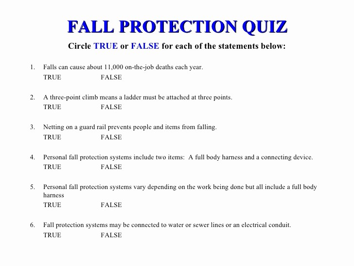 True or False Test Template New Ppt Workplace Fall Protection