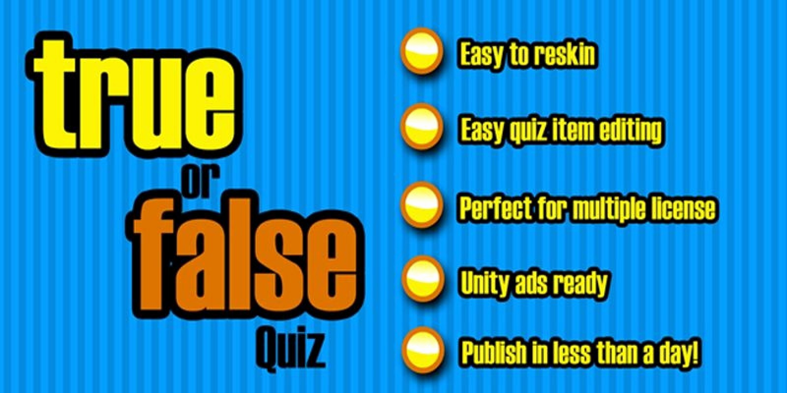 True or False Test Template New True False Quiz Unity Game source Code
