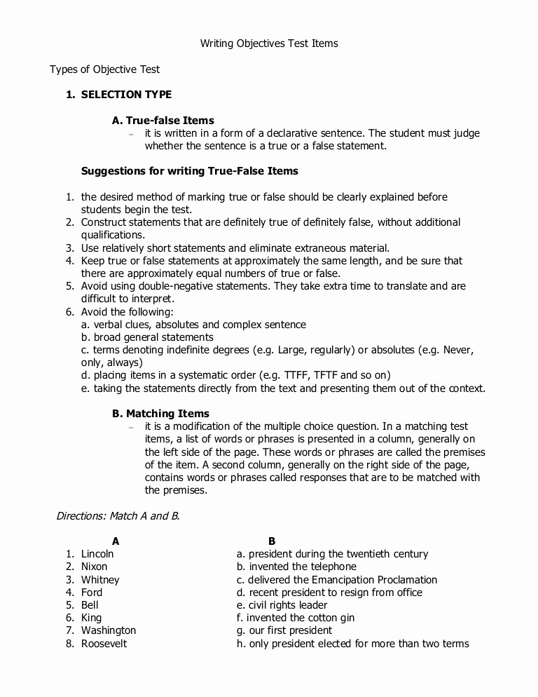 True or False Test Template Unique Writing Objective Test Items