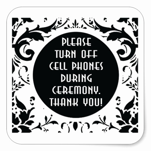 Turn Off Cell Phones Sign Best Of Turn Off Cell Phones Sign Wedding Damask Square Sticker