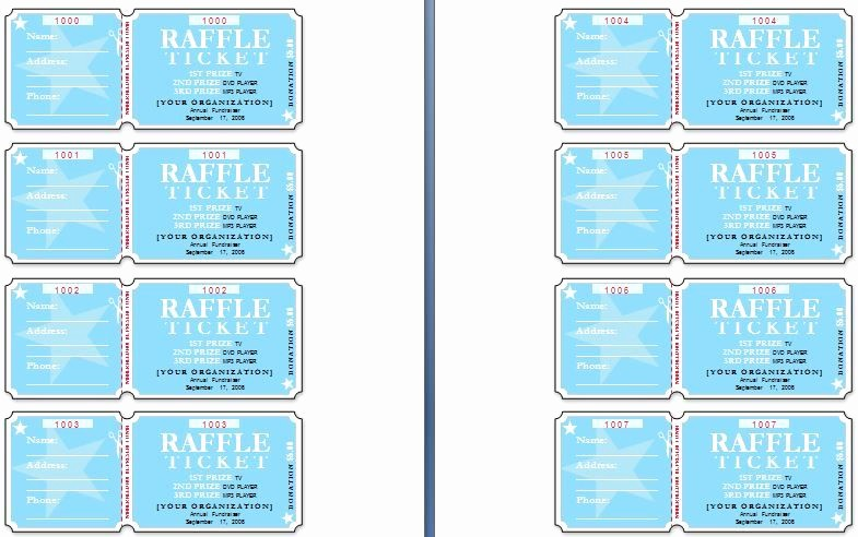 Two Part Raffle Tickets Template Best Of Sample Raffle Tickets the Template Has Six Tickets On A