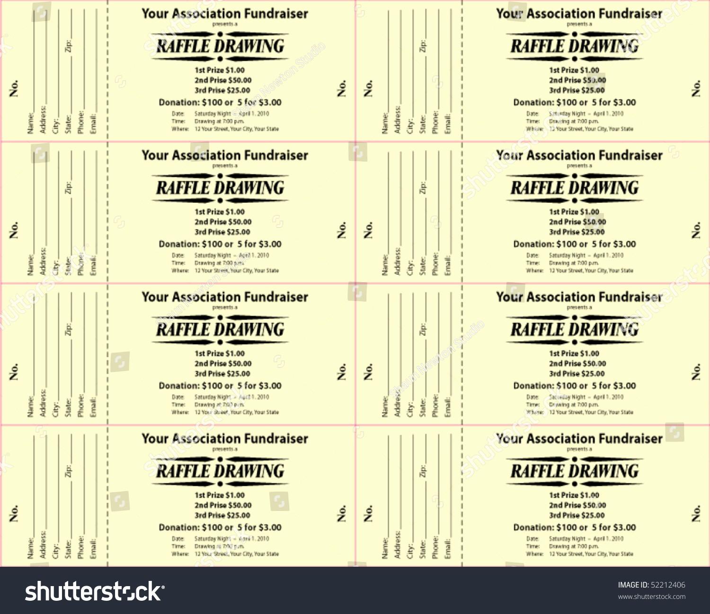 Two Part Raffle Tickets Template Fresh Raffle Ticket 2part Vector Template Stock Vector