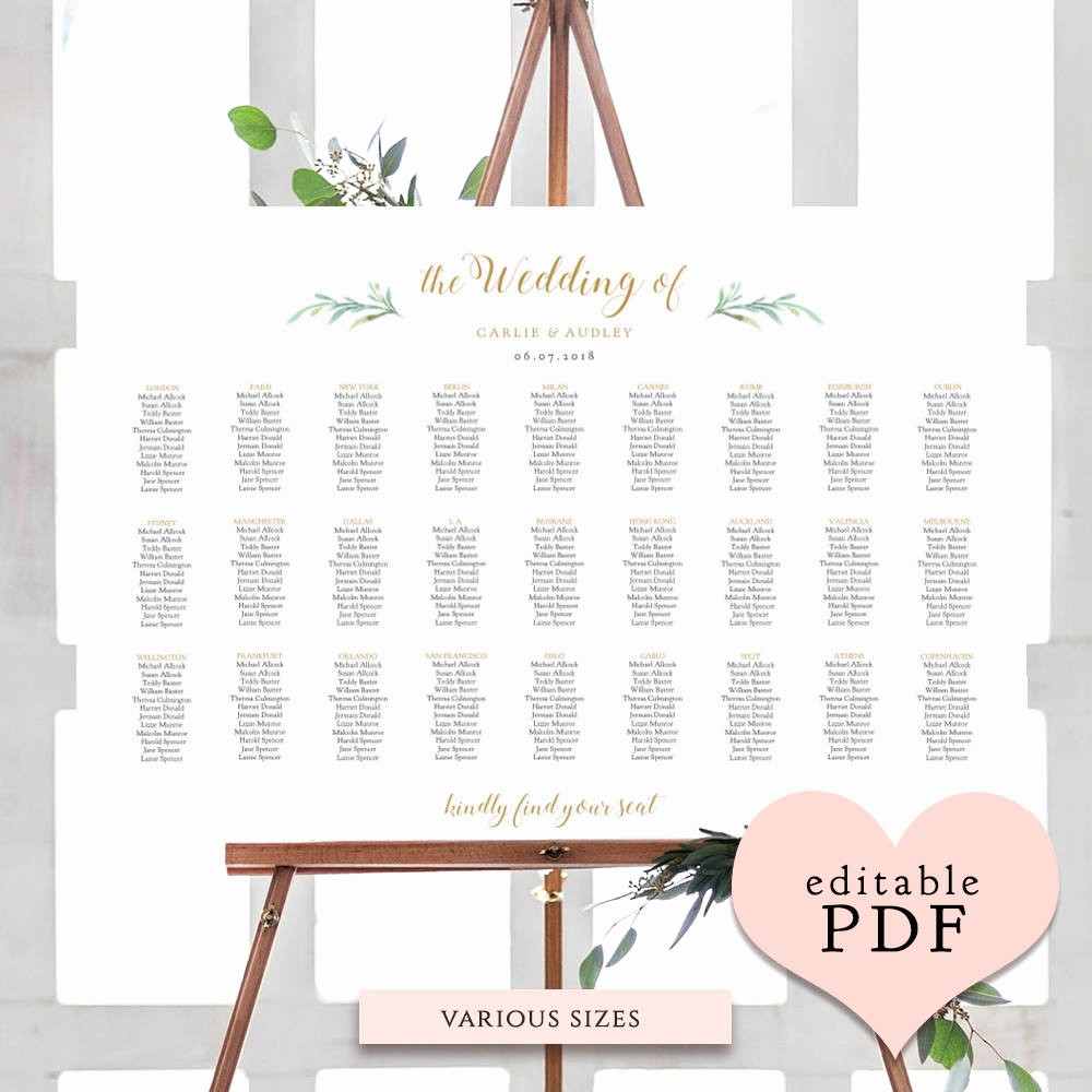 U Shaped Seating Chart Template Best Of Greenery Wedding Seating Chart Table Plan Templates