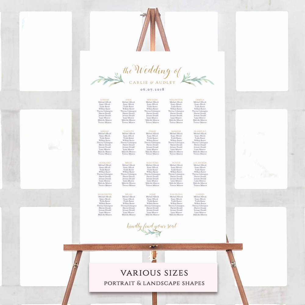 U Shaped Seating Chart Template Lovely Greenery Wedding Seating Chart Table Plan Templates