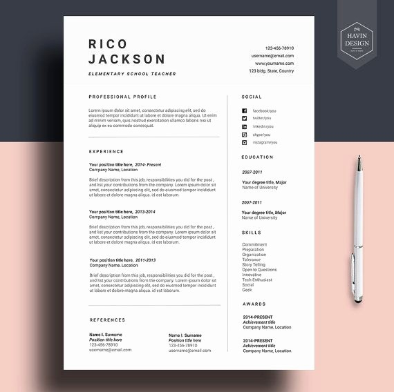 Unique Resume Templates Free Word Elegant Resume Template for Ms Word Cv Template with Free Cover