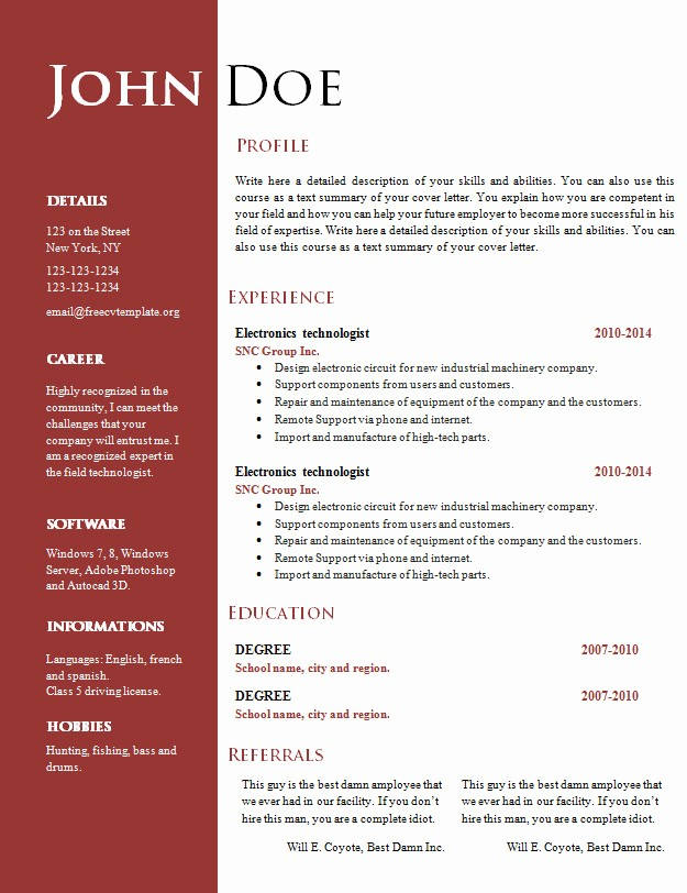 Unique Resume Templates Free Word Fresh Free Creative Resume Cv Template 547 to 553 – Free Cv